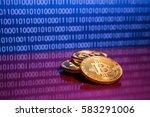 photo golden bitcoins on blue...