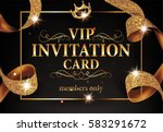 vip invitation card with gold... | Shutterstock .eps vector #583291672