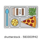lunch on a tray  pepperoni... | Shutterstock .eps vector #583303942