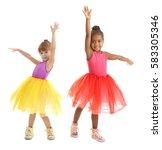 cute little ballerinas on white ...   Shutterstock . vector #583305346