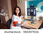 mri machine and screens with... | Shutterstock . vector #583307026