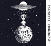 alien landed to moon from ufo... | Shutterstock .eps vector #583307938