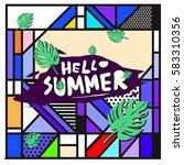 trendy vector summer cards...   Shutterstock .eps vector #583310356