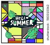 trendy vector summer cards...   Shutterstock .eps vector #583310362
