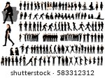 collection of silhouettes of... | Shutterstock .eps vector #583312312
