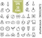 spa icons set line design ... | Shutterstock .eps vector #583313872