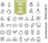 spa icons set line design ... | Shutterstock .eps vector #583313872