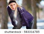 breathless girl make short... | Shutterstock . vector #583316785
