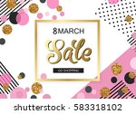 8 march sale holiday background ... | Shutterstock .eps vector #583318102