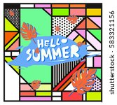 trendy vector summer cards...   Shutterstock .eps vector #583321156