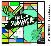 trendy vector summer cards...   Shutterstock .eps vector #583321186