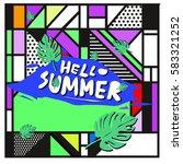 trendy vector summer cards...   Shutterstock .eps vector #583321252