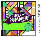 trendy vector summer cards...   Shutterstock .eps vector #583321342
