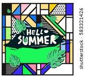 trendy vector summer cards...   Shutterstock .eps vector #583321426