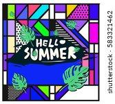 trendy vector summer cards...   Shutterstock .eps vector #583321462