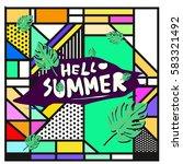 trendy vector summer cards...   Shutterstock .eps vector #583321492