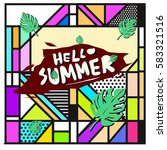 trendy vector summer cards...   Shutterstock .eps vector #583321516