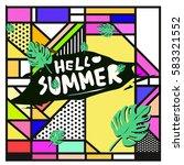 trendy vector summer cards...   Shutterstock .eps vector #583321552