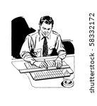 Draftsman At Work   Retro Clip...
