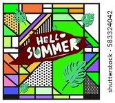 trendy vector summer cards...   Shutterstock .eps vector #583324042