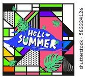 trendy vector summer cards...   Shutterstock .eps vector #583324126