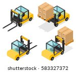 counter balanced forklift truck ... | Shutterstock .eps vector #583327372