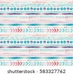 seamless watercolor ethnic... | Shutterstock . vector #583327762