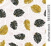 exotic leaves and dots ornament.... | Shutterstock .eps vector #583328572