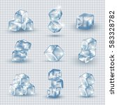 ice cubes set isolated on... | Shutterstock .eps vector #583328782