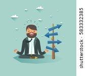 thinking businessman meditating ... | Shutterstock .eps vector #583332385