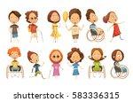 set of disabled kids on...   Shutterstock .eps vector #583336315