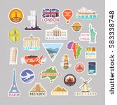 collection of vector stickers... | Shutterstock .eps vector #583338748