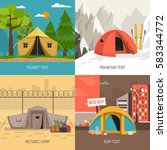 camping tent concept 4 icons... | Shutterstock .eps vector #583344772