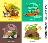 four square isolated safari... | Shutterstock .eps vector #583345192