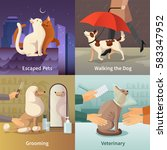 pet shop concept icons set with ... | Shutterstock .eps vector #583347952