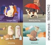 pet shop concept icons set with ... | Shutterstock .eps vector #583347952