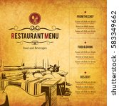 restaurant menu design. vector... | Shutterstock .eps vector #583349662
