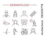 dermatology. line icons set.... | Shutterstock .eps vector #583350778
