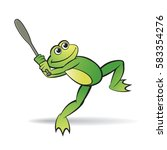color happy frog playing... | Shutterstock .eps vector #583354276