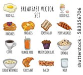 breakfast cartoon vector set ... | Shutterstock .eps vector #583356706