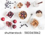 breakfast with muesli  fruits ... | Shutterstock . vector #583365862