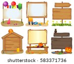wooden signboards set isolated... | Shutterstock .eps vector #583371736
