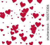 cutout red paper hearts.... | Shutterstock .eps vector #583372306