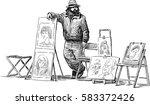 sketch of a street artist | Shutterstock .eps vector #583372426