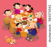 a chinese family reunion dinner.... | Shutterstock .eps vector #583373542