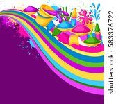 happy holi colorful background. ... | Shutterstock .eps vector #583376722