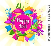 happy holi colorful background. ... | Shutterstock .eps vector #583376728