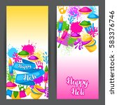 happy holi colorful banners.... | Shutterstock .eps vector #583376746