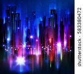 night city background  with... | Shutterstock .eps vector #583380472