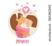 mom hugs her child.  flat... | Shutterstock .eps vector #583382845